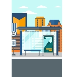 Background of bus stop with skyscrapers behind vector