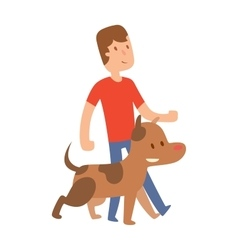 Best friend little boy with dog isolated on vector