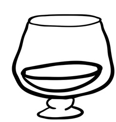 Black and white glass of cognac vector
