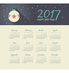 Calendar 2017 year with christmas ball vector