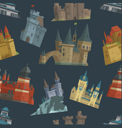 Cartoon fairy tale castle key-stone palace tower vector