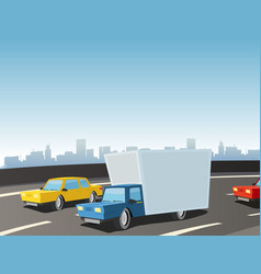 cartoon truck on highway vector image