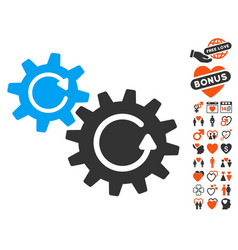 cogs rotation icon with love bonus vector image vector image