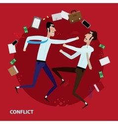 Conflict of two businessmen vector image vector image