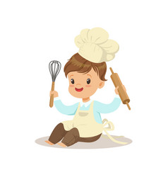 Cute little boy chef with whisk and rolling pin vector