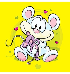 Cute mouse holding doll vector