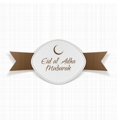 Eid al-adha mubarak label with ribbon vector