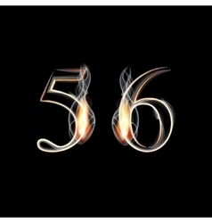 Fire and smoke font numbers 5 6 vector
