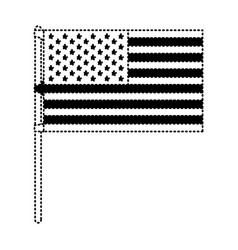 flag united states of america in flagpole and vector image