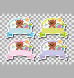 Four banners with cute teddybears vector