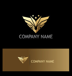 gold abstract wing emblem star logo vector image vector image