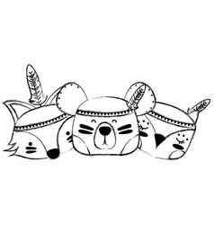Grunge animals head friends with feathers design vector