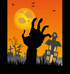 halloween cemetery background with hand bats vector image vector image