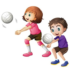 Kids playing volleyball vector image vector image
