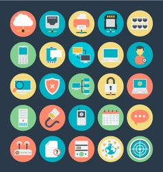 Networking colored icons 3 vector