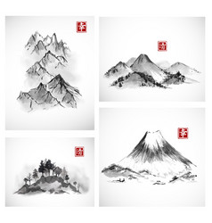 Paintings of mountains hand drawn with ink vector