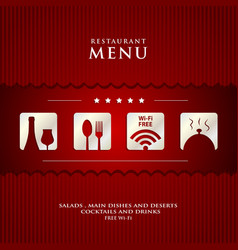 paper Restaurant Menu design on red background vector image