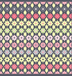pattern with flowers on gray strips circles vector image
