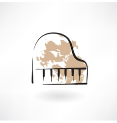 Piano keyboard grunge icon vector