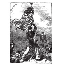Planting of us flag vintage vector