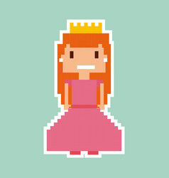 Princess video game pixelated character vector