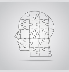 puzzle piece silhouette head - jigsaw vector image vector image