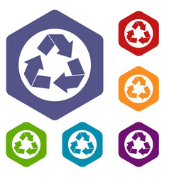 recycle sign icons set vector image vector image