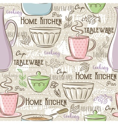 Seamless patterns with different tableware vector