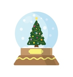 Snow globe with a christmas tree inside vector