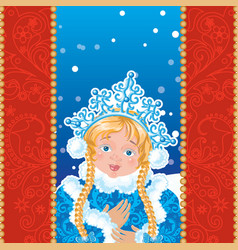 Snow Maiden on a blue background with white vector image vector image