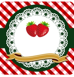 strawberry label vector image vector image