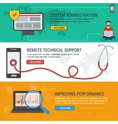 Three banners - remote technical support vector