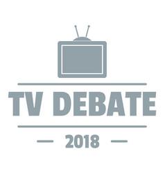 Tv debate logo simple gray style vector
