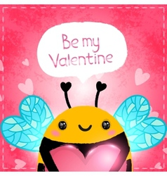 Valentines day greeting card with bee and heart vector image vector image