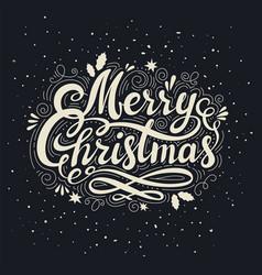vintage merry christmas inscription retro style vector image vector image