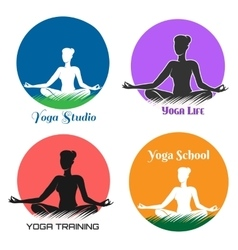 Yoga Logo and Emblem Set vector image