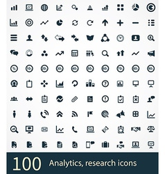 100 analytics research icons vector
