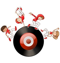 Hip hop people on record disc vector
