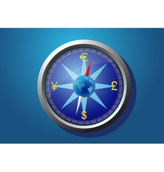 Currency of the world on the compass vector