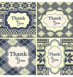 Set of vintage thank you cards with knitted vector image