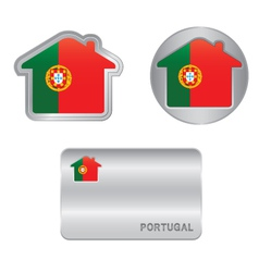 Home icon on the portugal flag vector