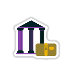 In paper sticker style history vector