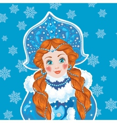 Snow Maiden on a blue background with white vector image