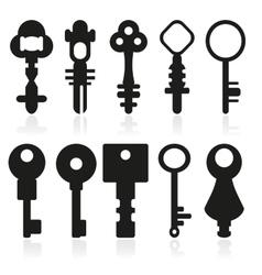 Set of silhouettes of door keys vector image