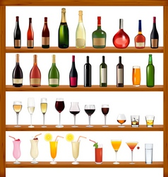 Super collection of bottles and glasses vector