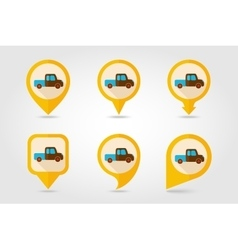 Pickup truck flat mapping pin icon vector