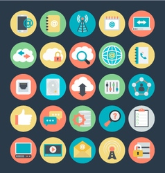 Networking colored icons 4 vector