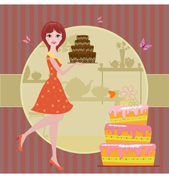 Woman cake vector image
