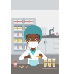 Pharmacist preparing medication vector image