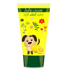 Baby cream tube with kids design vector